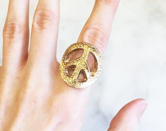 Vintage 60s 70s Peace Sign Ring Vintage Jewelry