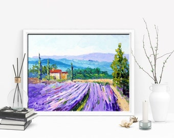 Art Commission, Original Provence Lavender Farm Landscape Oil painting, Impressionist Palette Knife Oil Painting, Made to Order