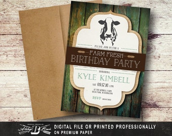 Green Farm Fresh Dairy Cow Birthday Invitation | Printed Invitations or Printable File DIY Digital | Rustic Farm Birthday Invitation