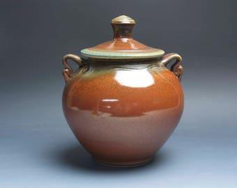 Handmade pottery cookie storage jar iron red 3961