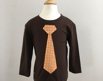 Toddler Tie Shirt, Long Sleeve, Little Man Tie, Orange Houndstooth in Brown, Ready to Ship
