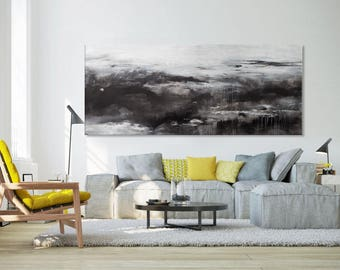 Large Abstract seascape giclee print on canvas print on paper from painting horizontal black white black grey 'twilight' 608