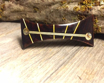 Wooden Hair Barrette: Cocobolo (Medium)