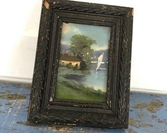 Antique Vintage Reverse Glass Painting  Lake House Cottage Chippy Black Frame