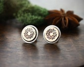 Flower mixed metal stud earrings- Copper and Sterling silver- Flower earrings- Handstamped copper studs- Simple mixed metal stud earrings