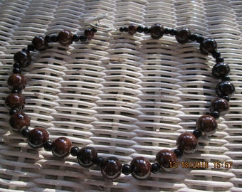 467  Brown ceramic beaded handmade necklace