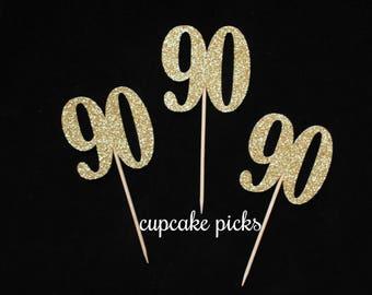 90th Birthday Cupcake Picks, 90 Birthday Cupcake Toppers, 90th Birthday Party Decorations