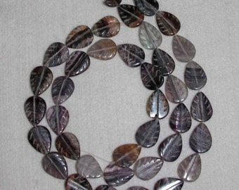 Flourite, Flourite Leaf, Carved Flourite Leaf, Natural Stone, Carved Flourite, Gemstone Bead, Purple Leaf,Half Strand, 19 mm, AdrianasBeads