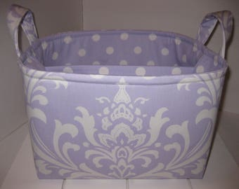 Large Diaper Caddy / Organizer Bin / Lavender Purple White Damask Polka Dots - Personalization Available