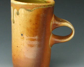 WOOD FIRED MUG #26 - Wood Fired Coffee Mug - Stoneware Mug - Pottery Mug - Tall Mug - Wood Fired Pottery
