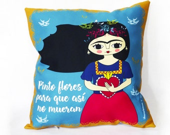 "Frida Kahlo pillow, artwork, cushion Frida Kahlo 16""x 16"" (40 x 40 cm.) Spanish quote"