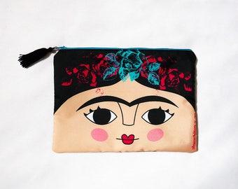 Frida Kahlo cosmetic bag, makeup bag, Frida Kahlo makeup bag, pencil bag
