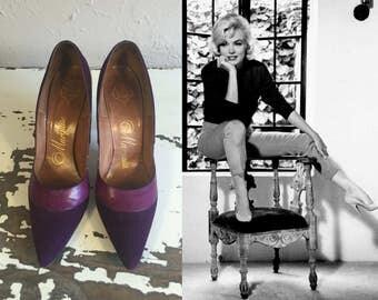 Kicking Off Her Dance Shoes - Vintage 1950s Purple Nubuck & Leather Stilettos High Heels Shoes Pumps -