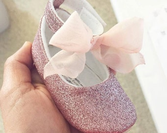 Toddler Girl Shoes Baby Girl Shoes Soft Soled Shoes Glitter Shoes Rose Pink, Gold, Champagne Shoes  - Esme