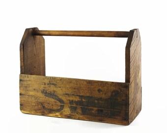 Vintage Tool Tote, Portable Tool Box, Rustic Farmhouse Decor, Garden Tool Caddy