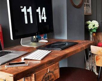 Harvest Wood Desk handmade of reclaimed wood with steel mid century legs