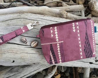 Manini Wristlet with removable strap / purple tribal