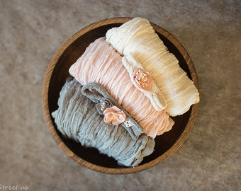 Baby Wraps and Baby Headbands Set, Cheesecloth, Pink and Gray Headband, Organic Props, Baby Girl Photo Prop, Cloth, Newborn Props, RTS