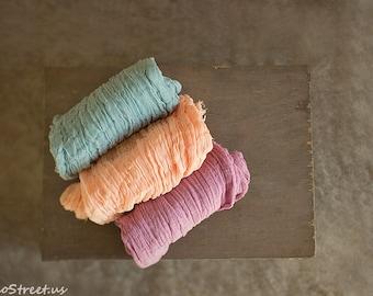 Three Cheese Cloth Wraps, Peach Cheesecloth, Orchid and Turquoise Cheese Cloth, Cheese Cloth Cocoon Wrap, Photo Prop, Newborn Props