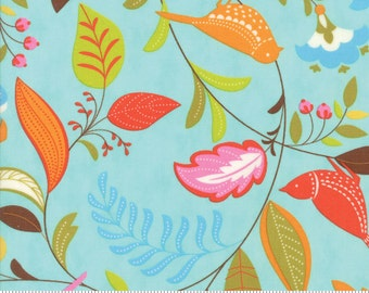Foilage (Leaves) Print in Robin's Egg Blue  (Hot Pink, Yellow, Turquoise, Orange)  from the Wing Leaf Collection, by Moda
