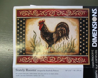 vintage needlepoint canvas unfinished Dimensions #20057 Stately Rooster 16 by 20 inches  2007