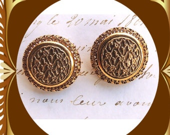 Antqiued Ornate Gold Flower Earrings Clip On Vintage Jewelry