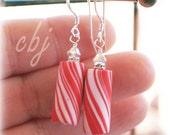 Candy Cane Peppermint Swirl Earrings, Christmas Jewelry, Candy Cane Earrings