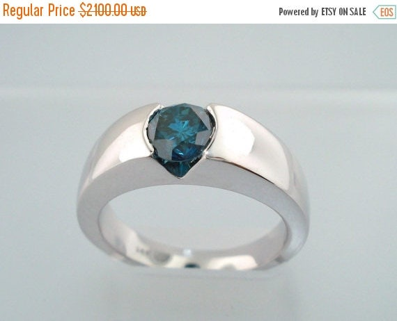 ON SALE Men's Blue Diamond Solitaire Engagement Ring 14K White Gold Handmade 0.70ct Si2