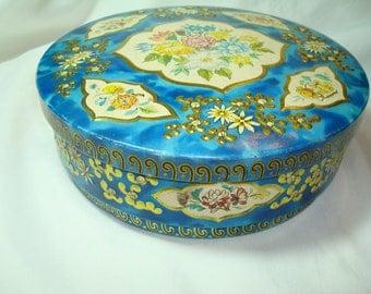 Vintage Huntley and Palmers Blue Floral Embossed Biscuit Tin.