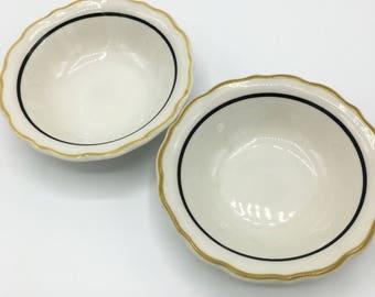 Vintage Restaurant Ware Berry Bowls, Syracuse China Mustard & Black, Set of 2