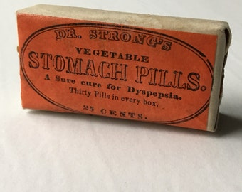 Antique Drugstore Dr. Strong's Vegetable Stomach Pills Tiny Sealed Box