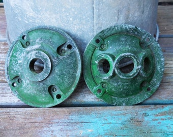 Vintage lamp lighting parts electrical receptacle  salvage supplies 2 piece three socket Union NJ