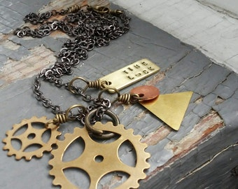 Time Lock - unisex stamped metalwork tag, industrial steampunk sprocket & geometric layered necklace