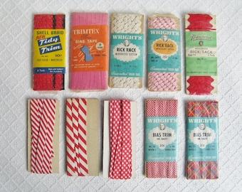 Mixed Lot of 10 Red Vintage Trims, Rick Rack, Bias Tape, Checks, Stripes, Some NIP, 1950s