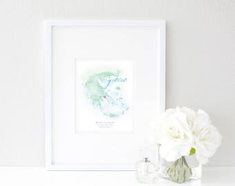 Greece Watercolor Map | Destination Map Print | Personalized Watercolor Map | Honeymoon Map | Anniversary Map | Watercolor Wedding Map