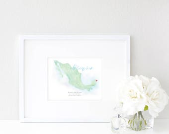 Mexico Watercolor Map | Destination Map Print | Personalized Watercolor Map | Honeymoon Map | Anniversary Map | Watercolor Wedding Map