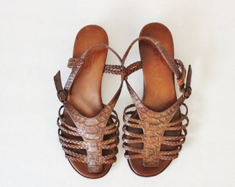 sale // Vintage 80s SESTO MEUCCI Woven Braided Gladiator Sandals - Women 8 Wide, leather sole