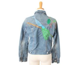 50% half off sale // Vintage 90s Embroidered Peacock Denim Jean Jacket // Women Small Medium // Gap coat