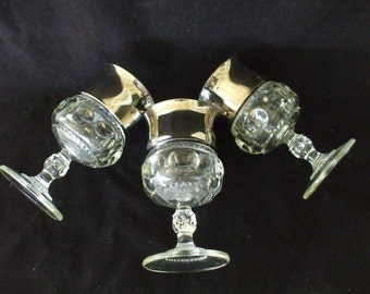 Silver Rimmed Wine Glasses - (3) Dorthy Thorpe Style -Wide Silver Rim -Vintage - Wedding - Gifts - Barware - Mad Men Era -  Stemware - #1154
