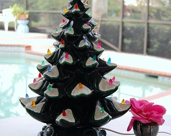 """VINTAGE CHRISTMAS TREE / Vintage Christmas Tree 1960s / 19"""" tall x 14"""" Hand made Christmas Tree with Plastic Ornaments  at Retro Daisy Girl"""