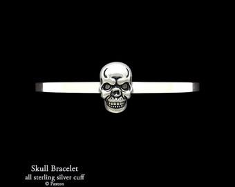 Skull Bracelet Sterling Silver Skull Cuff Bracelet Handmade