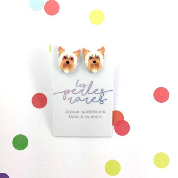 yorkshire terrier, dog earring, yorkie,white, brown, orange, small, dog, hypoallergenic, plastic, stainless stud, handmade, les perles rares