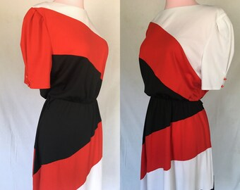 1980s does 1950s Red Black and White Color Block Dress - Size Large