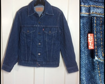 Vintage Levi's Denim Blue Jean Jacket 4 Pocket Size 36 Small Dark Wash #1905