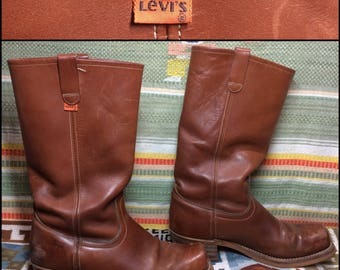 vintage 1970's Levi's orange tab brown leather Campus Boots looks size 10.5 square toe