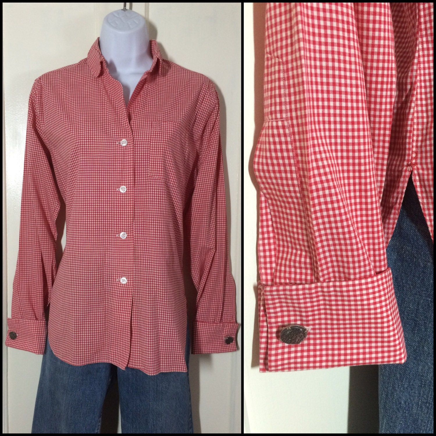 1950s gingham check french cuff blouse