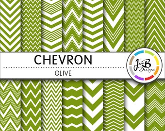Chevron Digital Paper, Olive, Green, Green and White, Chevron, Zig Zag, Digital Paper, Digital Download, Scrapbook Paper, Digital Paper Pack