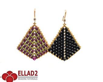 Tutorial Superduo Ladies Fan Earrings - Beading pattern, beading tutorials, Ellad2