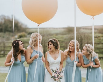 Coralie Beatrix Pelican Dusty Blue Long Octopus Infinity Convertible Wrap Gown Dress~ Bridesmaids, weddings, All sizes