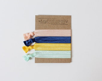 Elastic Hair Ties / Set of 4 / Navy Blue / Peach / Mint / Yellow / Hair Accessories / Yoga Hair Tie